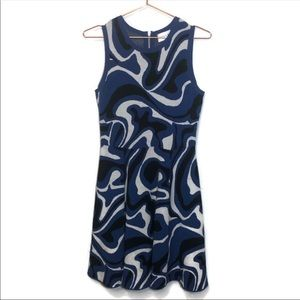 COPY - Milly Blue Swirl Fit And Flare Dress